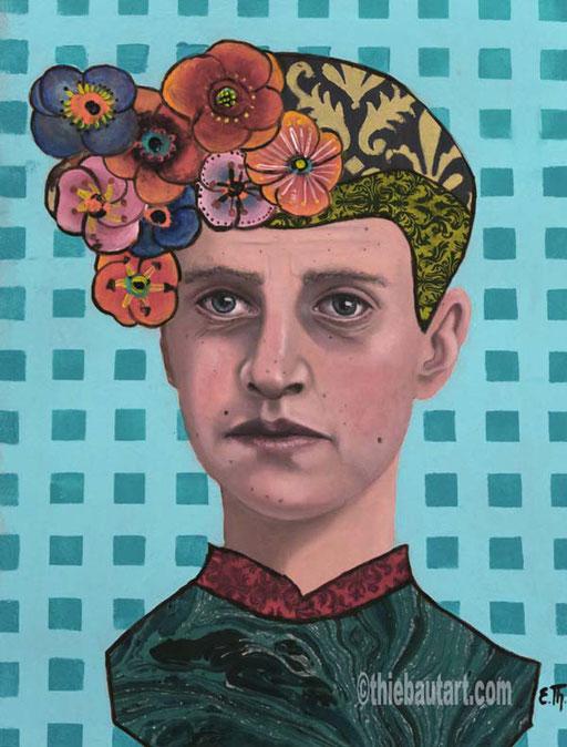 """""""Deux Ans déjà"""",  acrylique, huile et collages sur papier Clairefontaine 360 gr. recouvert de Gesso, 30 x 40 cm"""