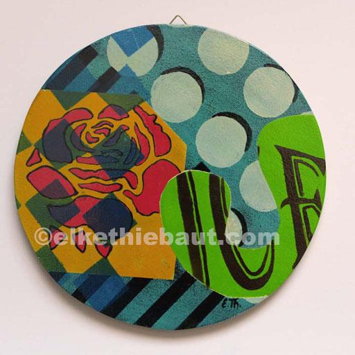 Abstrait N° 400, acrylique sur contreplaqué peuplier, diamètre environ 21 cm