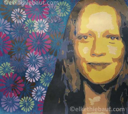 """Titre/Title:""""Autoportrait 17 ans"""",  pochoirs multiples crées par moi-même et découpés à la main sur papier Clairefontaine/multilayers stencilpainting on Clairefontaine"""