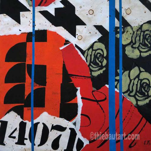 Abstrait N° 396 (14 Juillet) Collages de papiers entièrement peints à l'acrylique sur panneau HDF, 30 x 30 cm