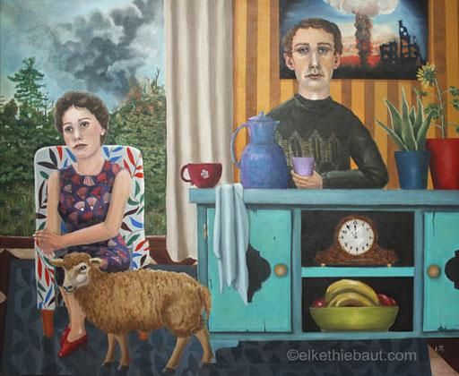«Bright Future», acrylique et huile sur toile, 60 x 80 cm, - acrylics and oil on stretched canvas, 80 x 100 x 2 cm, 2019