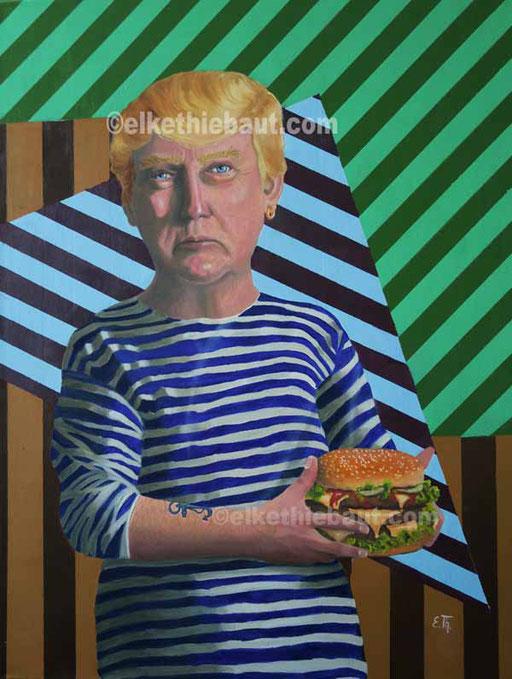 """""""America first"""", acrylique et huile surtoile, 60 x 80 cm"""