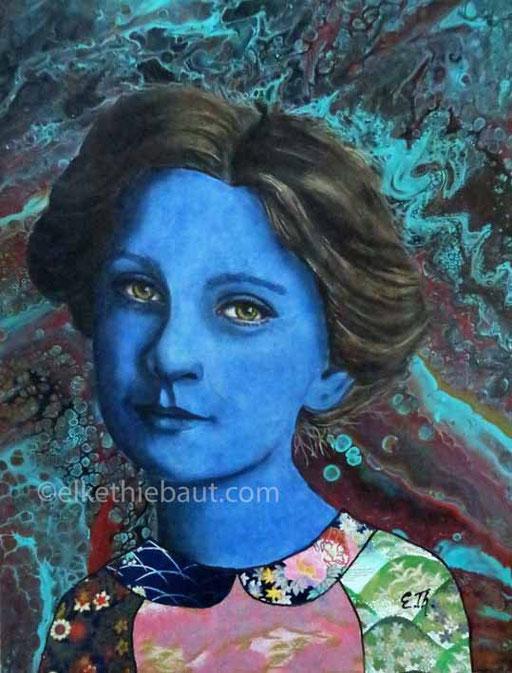 """""""Maude"""", Acrylique, huile et collages sur panneau MDF, 40x30x1 cm - VENDU/SOLDE -"""