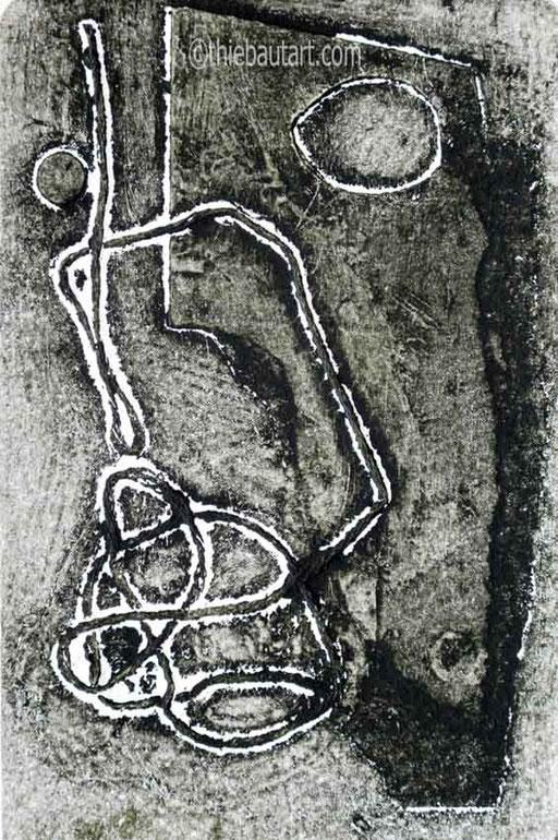 Collagraphie (collagraph) sur papier JS Swan 300 grammes, dimensions de l'image: 9,5 x 15 cm sur papier 15 x 24 cm avec marges. Signé et daté. Série de 8 estampes.