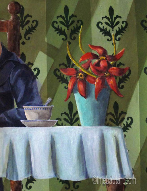 """""""Café en Famille"""" Acrylique et huile sur papier Clairefontaine 360 grammes, 36 x 46 cm  - V E N D U/ S O L D -"""