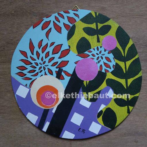 Abstrait N° 401, acrylique sur contreplaqué peuplier, diamètre environ 21 cm