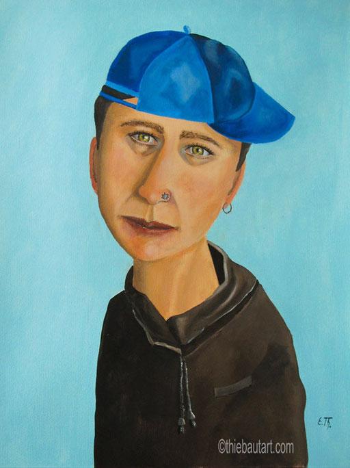 La Casquette bleue, acrylique sur papier Fabriano 400 gr., 50 x 60 cm