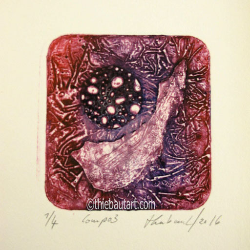 Collagraphie (collagraph) sur papier JS Vieil-Hollande 300 grammes, diamètre de l'impression: 12 cm sur papier 15 x 15 cm