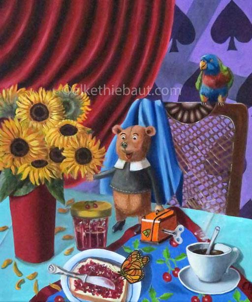 """""""Cosy World"""", acrylique et huile/oil sur toile de lin, 55 x 46 cm,"""