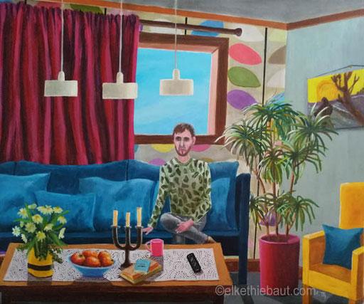 «L'Attente», acrylique et huile sur toile de lin fin, 50 x 60, acrylics and oil on stretched linen, 2019