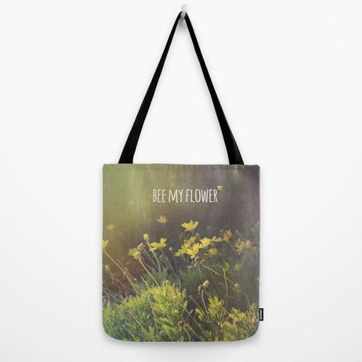 Shop Tote Bags, Bee my Flower by Victoria Herrera