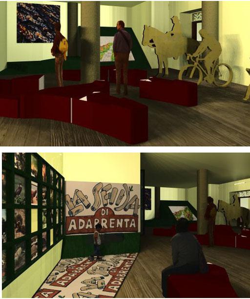 Sopra: la mappa interattiva e la 'video art'. Sotto: il gioco di Ada-Brenta, ideato da Umberto Berton.