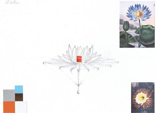 Planche d'intention Lotus L.Raphaël Genève. Création Hervé Arnoul