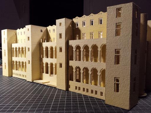 Château de Boulogne dit de Madrid étape de réalisation.reconstitution Hervé Arnoul. 1/200e