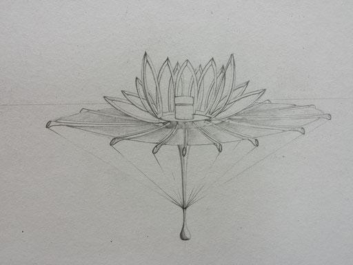 Croquis Lotus L.Raphaël Genève. Création Hervé Arnoul