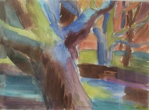 Amsterdam Bäume, 26x36cm