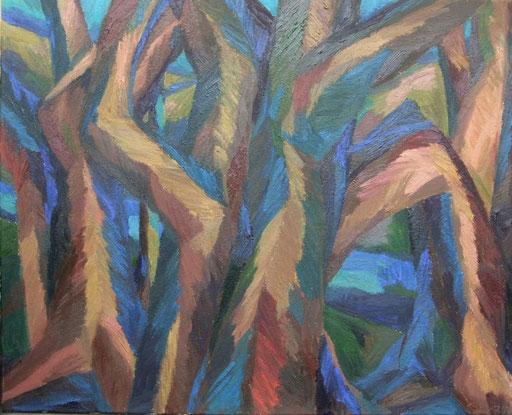 Bäume am Fluss, 80x100cm