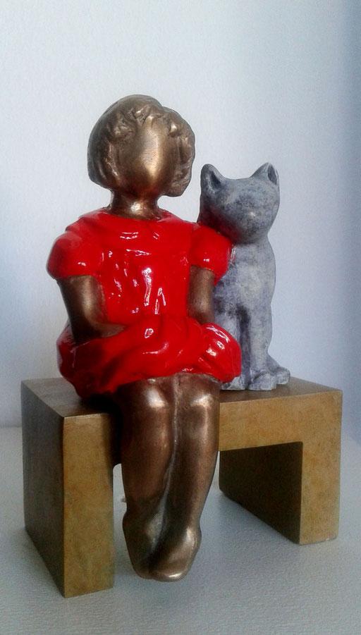 LES DEUX AMIS  - Bronze 1/8  - 10 x 12 cm - disponible
