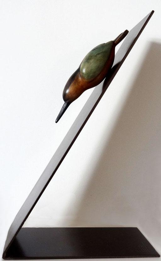 MARTIN PECHEUR - Tilleul, métal -  vendu