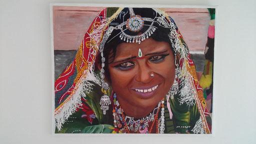 FEMME INDIENNE  Huile et acrylique