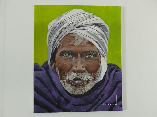 GRAND PERE INDIEN Huile et acrylique
