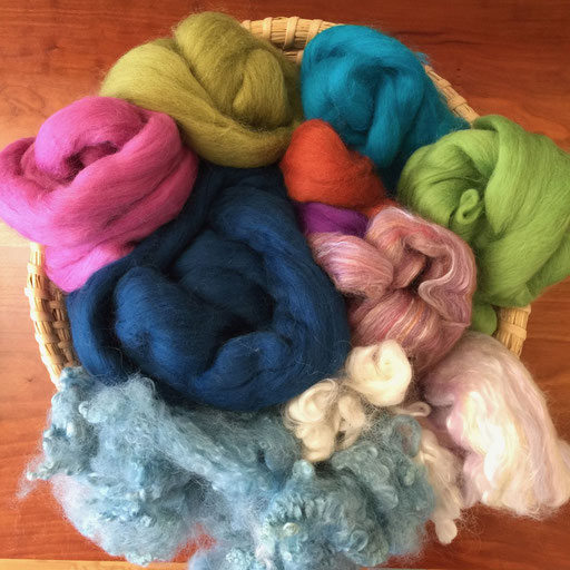 100% Merino and Corriedale wool roving - this wool has been combed so that all the fibers are heading one direction