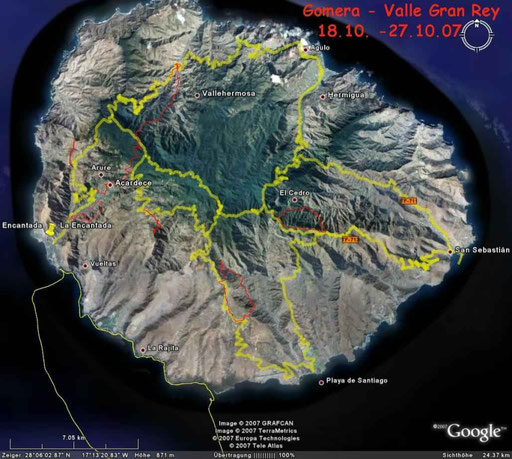 La Gomera - rot sind unsere Wandertouren (Google Earth)