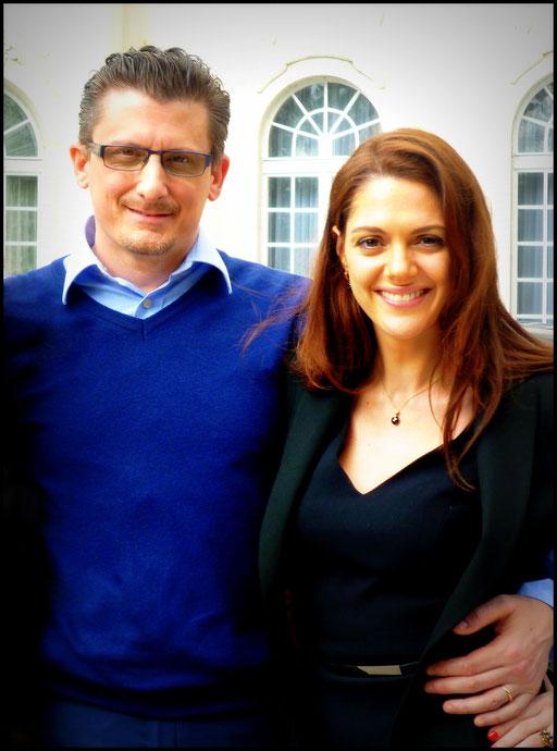 "On set with the stunning Klara Issova filming ""Transporter: the series"" - S2"