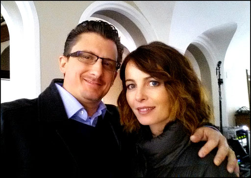 "Taking a break from filming ""Transporter: the series"" with the beautiful and talented Violante Placido"
