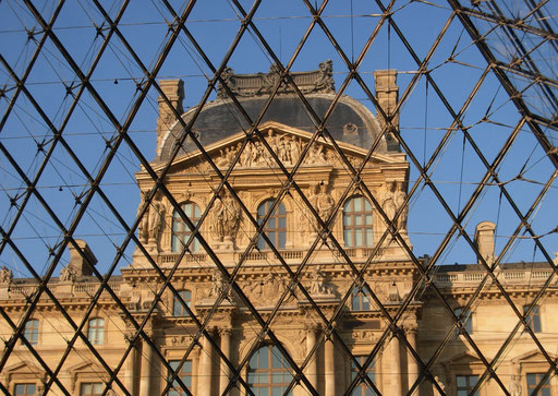Through the pyramid of Louvre