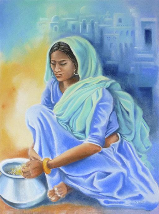 Jarre-pastel 50x65- Inde