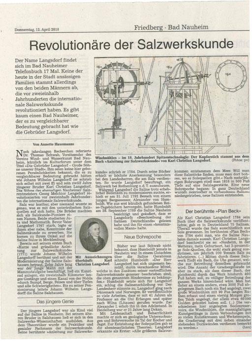 Wetterauer Zeitung, 12. April 2018