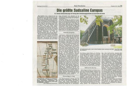 Wetterauer Zeitung, 29. Juni 2013