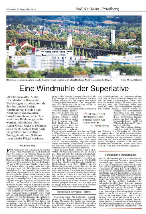Wetterauer Zeitung, 12. September 2018