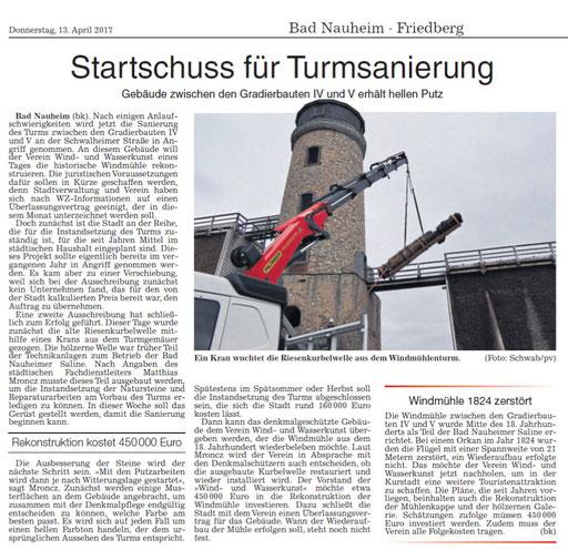 Wetterauer Zeitung, 13. April 2017