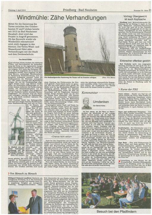 Wetterauer Zeitung, 05. April 2016