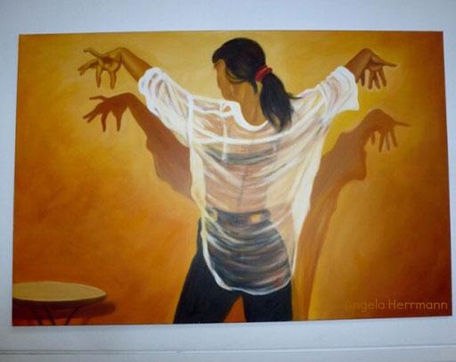 Spanierin Flamenco  Größe 160 x120 cm  SOLD
