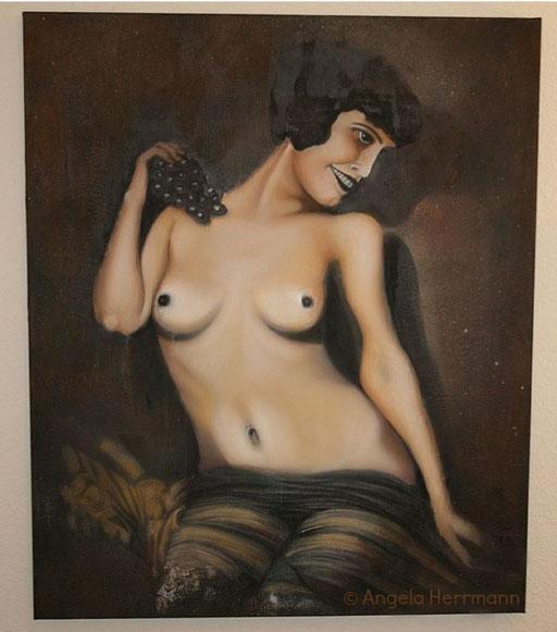 Auftragsarbeit, diese nackte Unbekannte wurde von einem kleinen Foto (DIN A 5) auf ein großes Format von mir gemalt  Größe ca. 100 x 120 cm   SOLD