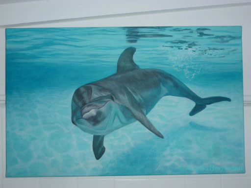 Ich glaube der Magie die von Delfinen ausgeht kann sich keiner entziehen  Größe ca. 100 x70 cm  SOLD