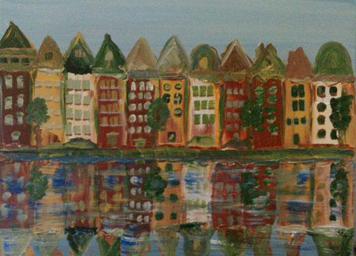 15. Amsterdamse gracht, 30x40 cm, acryl op canvas