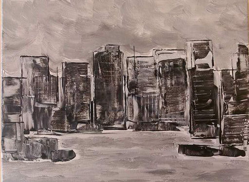 19. skyline, 30x40 cm, acryl op canvas