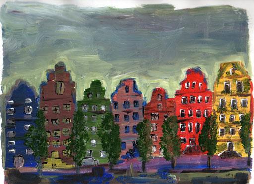 42. Amsterdam, 24x18 cm, acryl op papier. In lijst van 30x30 cm met passe-partout.