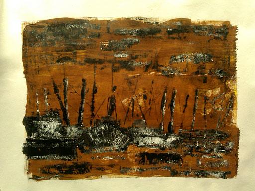 34. Schepen in haven, 40x50 cm, acryl op papier