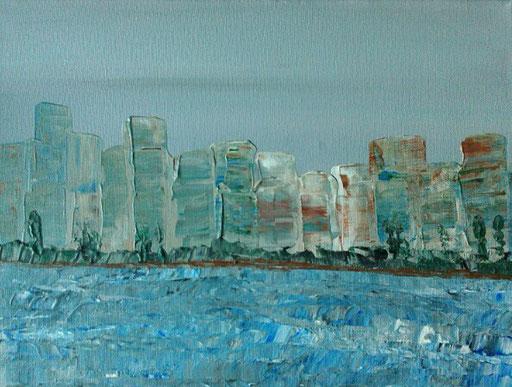 16. Skyline, 30x40 cm, acryl op canvas