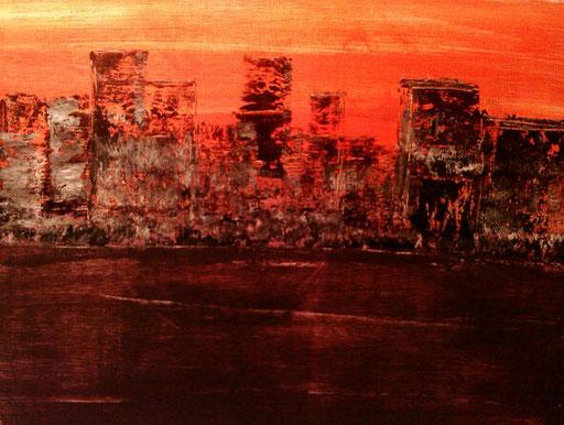 37. Skyline, 30x40 cm, acryl op canvas