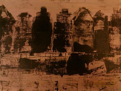 36. Huizen, 30x40 cm, acryl op canvas