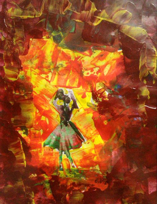 17. Danseres, 20x30 cm, acryl op papier