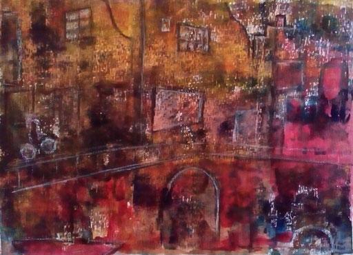 6. Amsterdam, 30x40 cm, acryl op papier