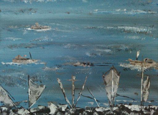 14. Schepen, 30x40 cm, acryl op canvas