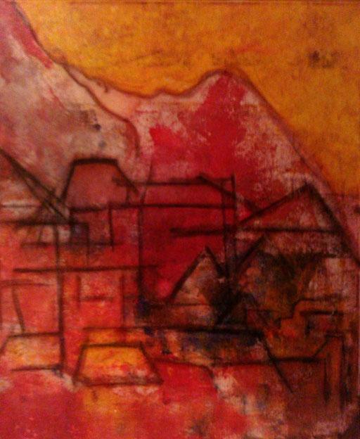 22. De stad brandt en zij kijkt toe, 50,60 cm, gouache op canvas. Niet te koop.